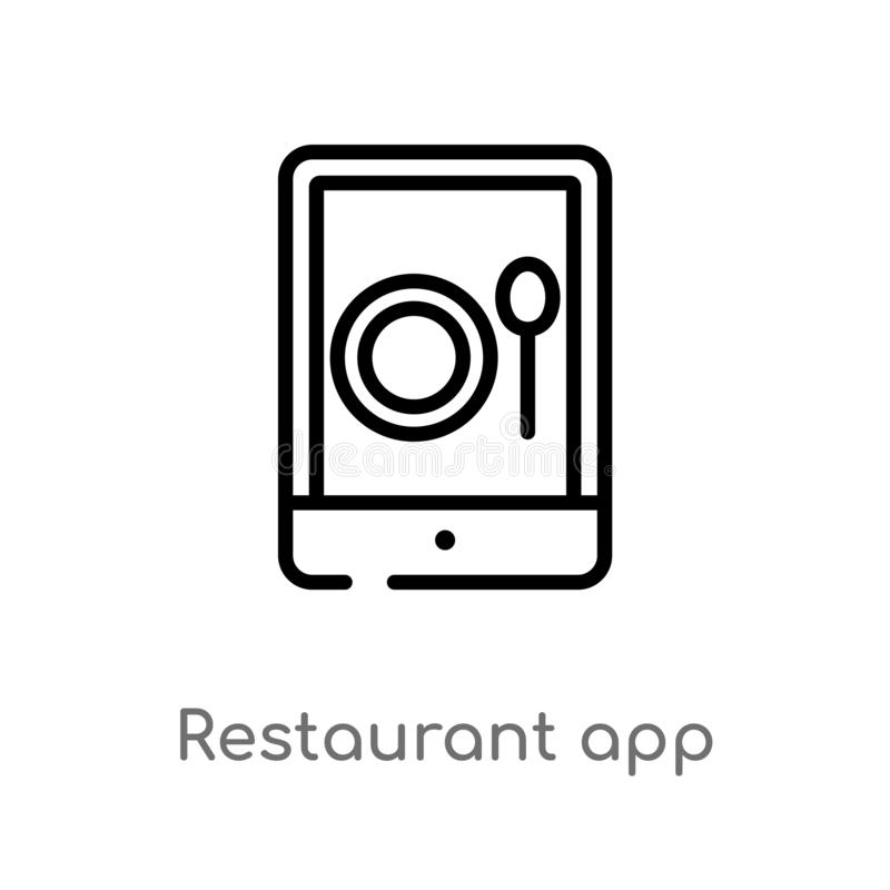 outline restaurant app vector icon. isolated black simple line element illustration from computer concept. editable vector stroke royalty free illustration