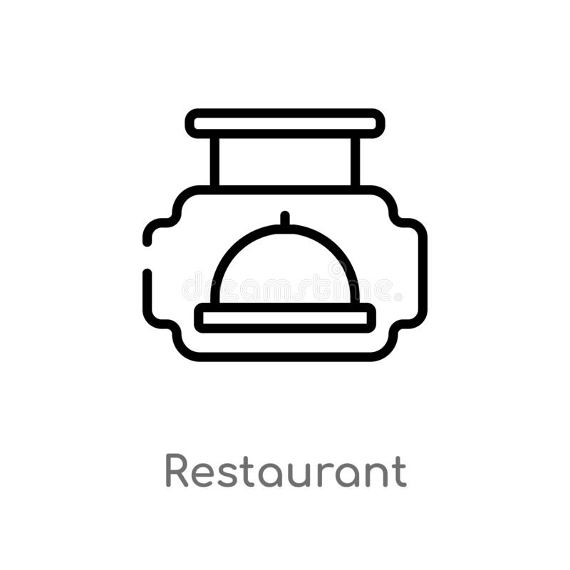 outline restaurant vector icon. isolated black simple line element illustration from signs concept. editable vector stroke royalty free illustration