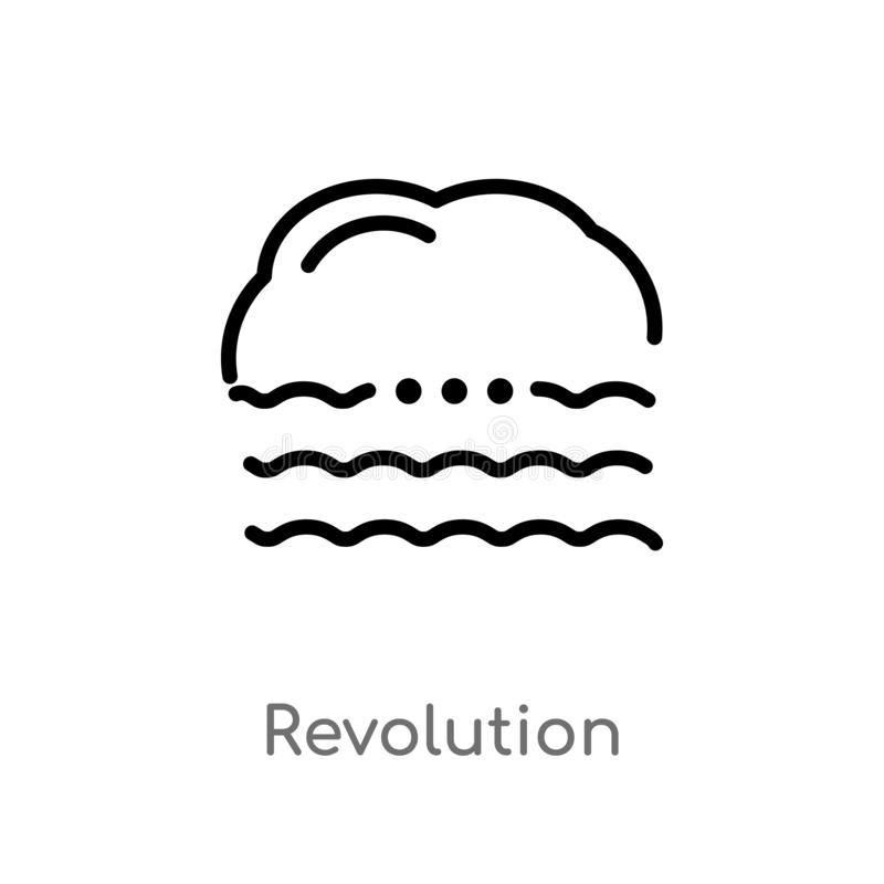 Outline revolution vector icon. isolated black simple line element illustration from meteorology concept. editable vector stroke. Revolution icon on white royalty free illustration