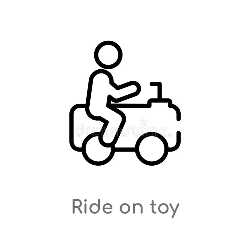 Outline ride on toy vector icon. isolated black simple line element illustration from toys concept. editable vector stroke ride on. Toy icon on white background stock illustration