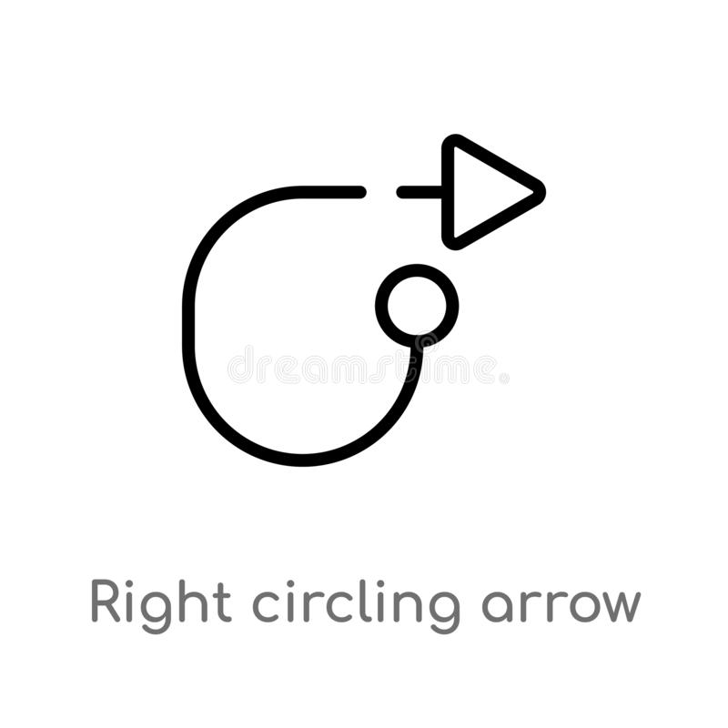 Outline right circling arrow vector icon. isolated black simple line element illustration from arrows concept. editable vector. Stroke right circling arrow icon royalty free illustration