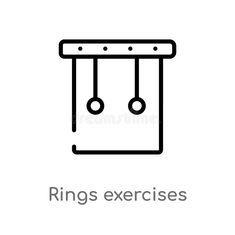 outline rings exercises vector icon. isolated black simple line element illustration from gym and fitness concept. editable vector royalty free illustration