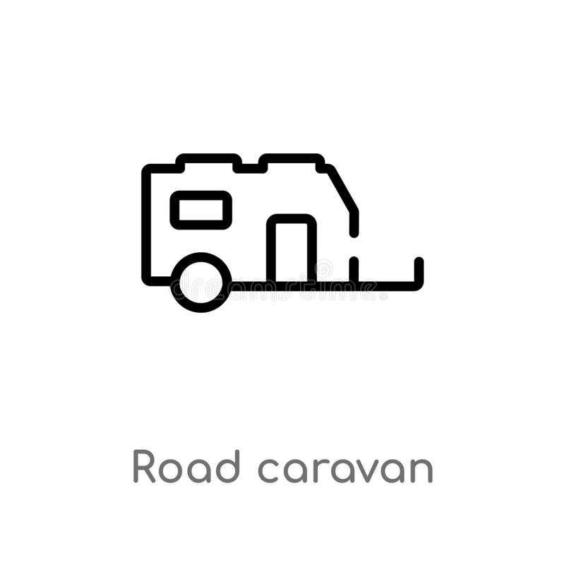 outline road caravan vector icon. isolated black simple line element illustration from transport concept. editable vector stroke vector illustration