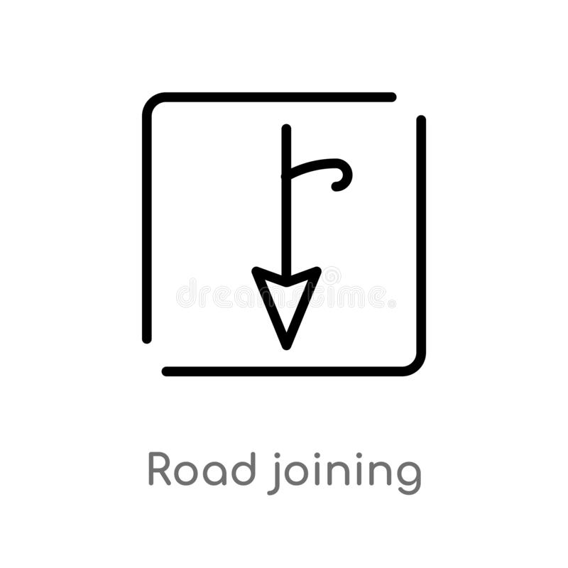 Outline road joining vector icon. isolated black simple line element illustration from maps and flags concept. editable vector. Stroke road joining icon on royalty free illustration