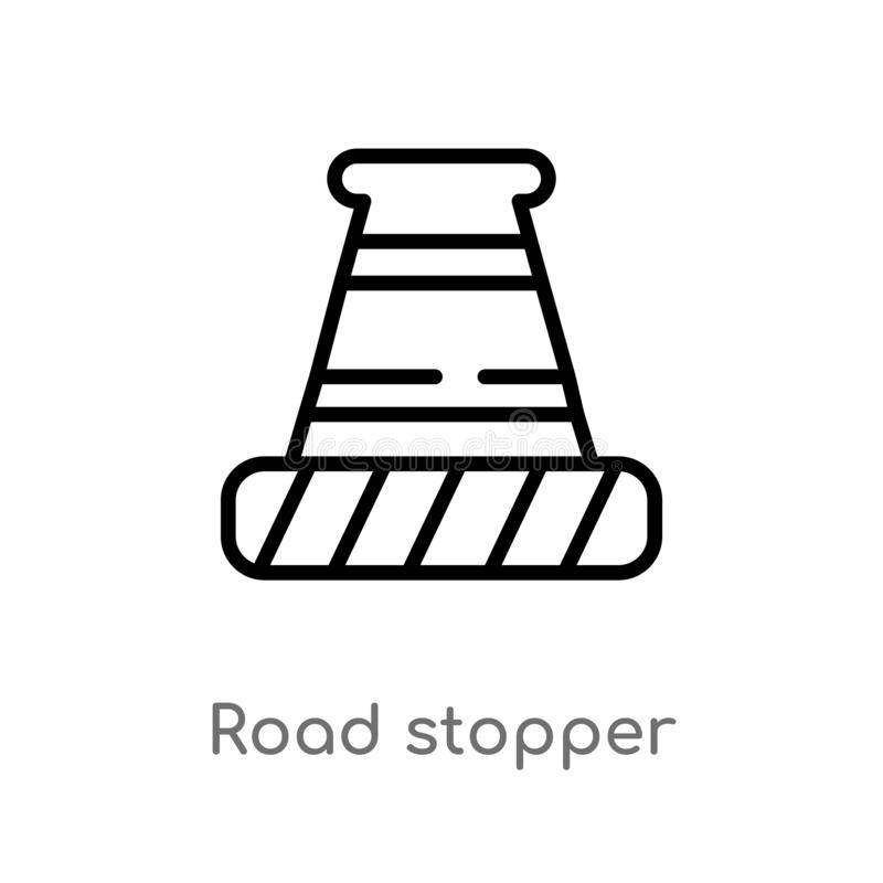 outline road stopper vector icon. isolated black simple line element illustration from construction concept. editable vector royalty free illustration