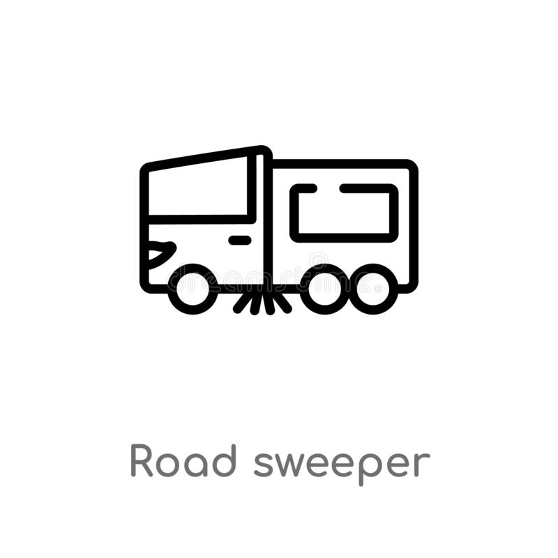 outline road sweeper vector icon. isolated black simple line element illustration from transport concept. editable vector stroke vector illustration