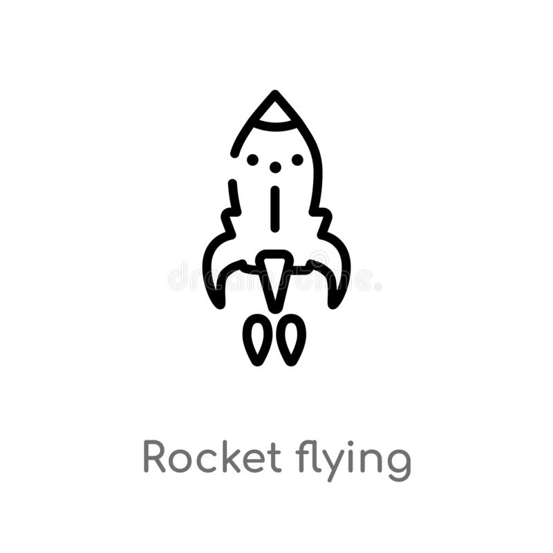 Outline rocket flying vector icon. isolated black simple line element illustration from astronomy concept. editable vector stroke. Rocket flying icon on white vector illustration
