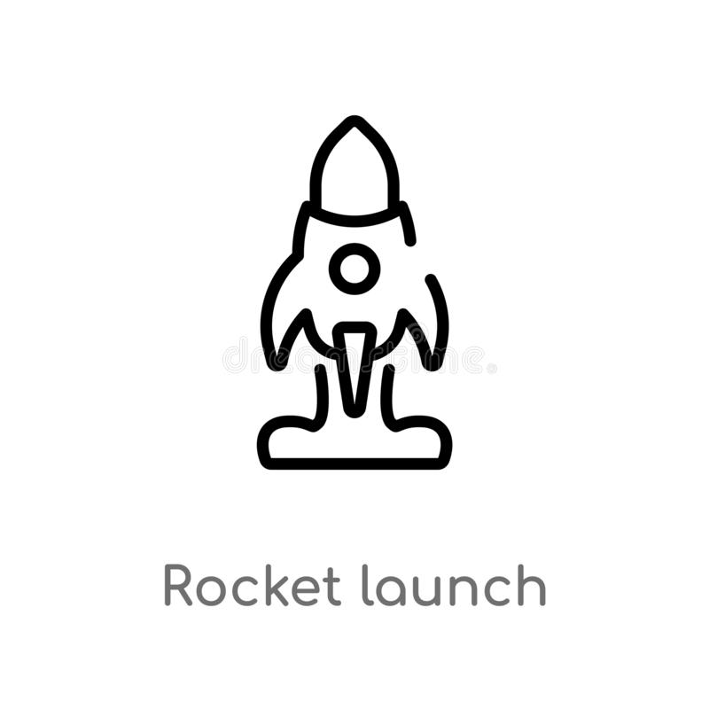 Outline rocket launch vector icon. isolated black simple line element illustration from user interface concept. editable vector. Stroke rocket launch icon on vector illustration