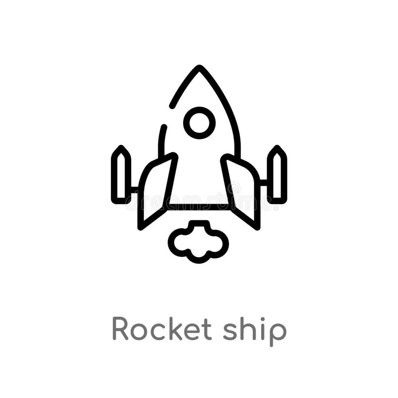 Outline rocket ship vector icon. isolated black simple line element illustration from astronomy concept. editable vector stroke. Rocket ship icon on white stock illustration