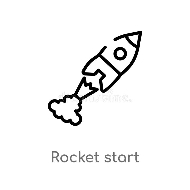 Outline rocket start vector icon. isolated black simple line element illustration from astronomy concept. editable vector stroke. Rocket start icon on white stock illustration