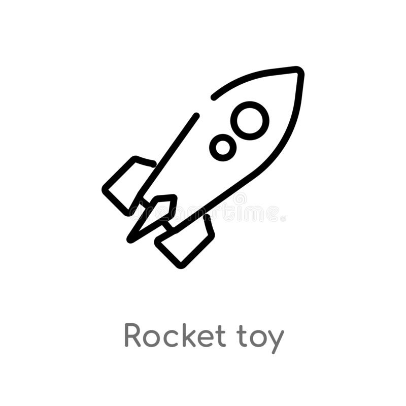 Outline rocket toy vector icon. isolated black simple line element illustration from toys concept. editable vector stroke rocket. Toy icon on white background royalty free illustration