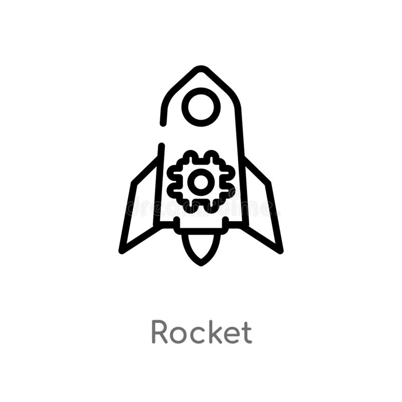 Outline rocket vector icon. isolated black simple line element illustration from artificial intelligence concept. editable vector. Stroke rocket icon on white stock illustration
