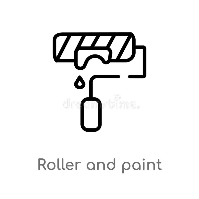 outline roller and paint vector icon. isolated black simple line element illustration from construction concept. editable vector vector illustration
