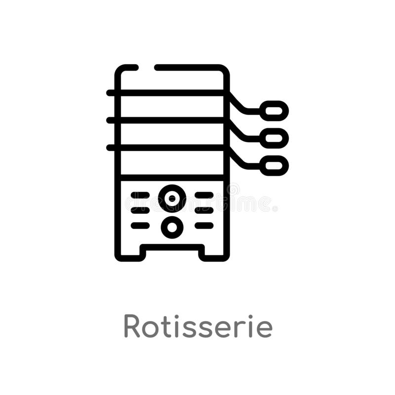 Outline rotisserie vector icon. isolated black simple line element illustration from electronic devices concept. editable vector. Stroke rotisserie icon on stock illustration