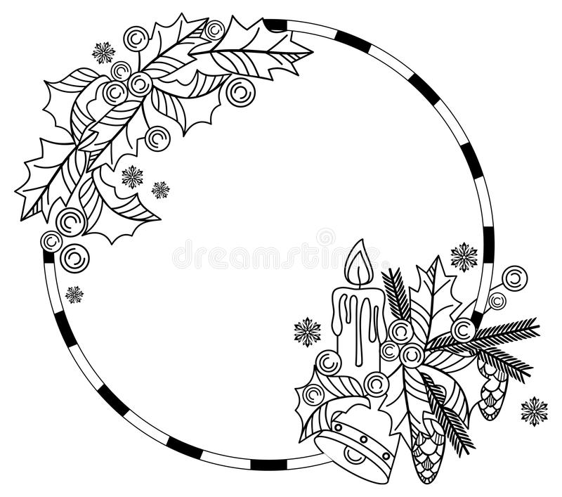 Download Outline Round Frame With Christmas Bell Lighting Candle Holly Berry Stock Image -  sc 1 st  Dreamstime.com & outline-round-frame-christmas-bell-lighting -candle-holly-berry-pine-cones-copy-space-raster-clip-art-82180181.jpg azcodes.com