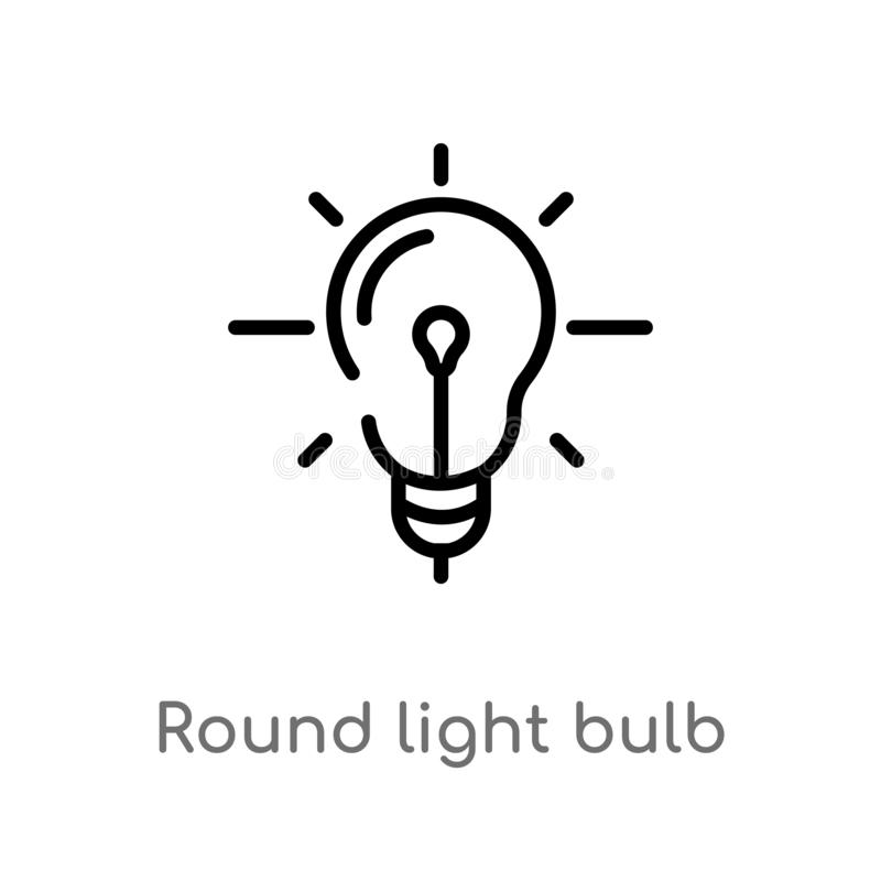 outline round light bulb vector icon. isolated black simple line element illustration from business concept. editable vector stock illustration