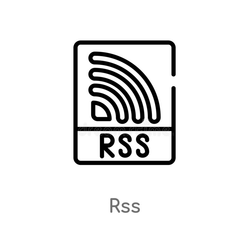 outline rss vector icon. isolated black simple line element illustration from marketing concept. editable vector stroke rss icon stock illustration