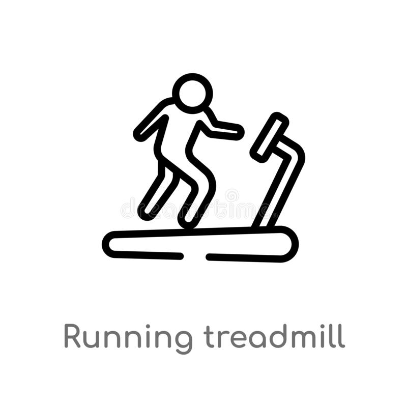 outline running treadmill vector icon. isolated black simple line element illustration from gym and fitness concept. editable stock illustration