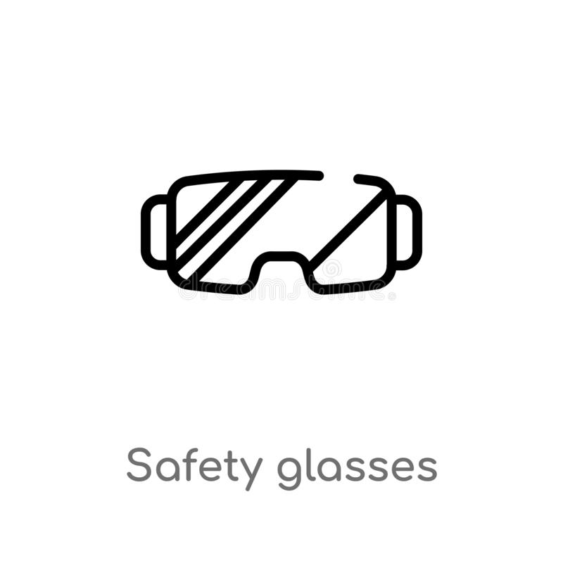 outline safety glasses vector icon. isolated black simple line element illustration from winter concept. editable vector stroke royalty free illustration