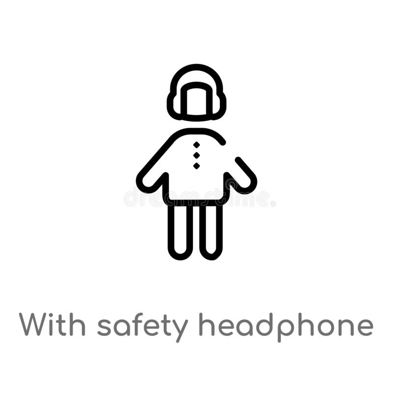 outline with safety headphone vector icon. isolated black simple line element illustration from people concept. editable vector royalty free illustration