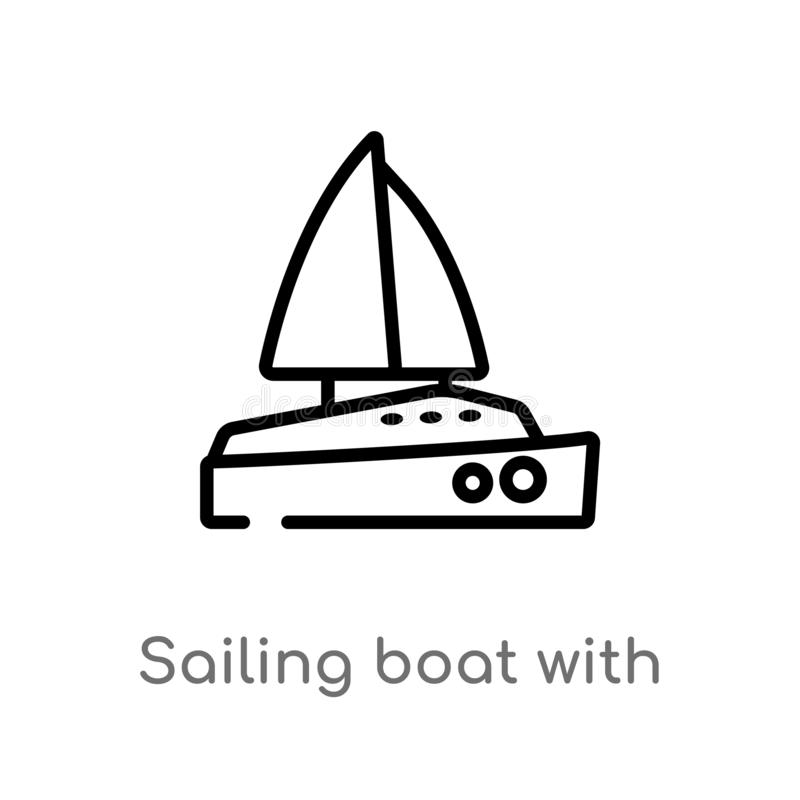 Outline sailing boat with veils vector icon. isolated black simple line element illustration from transport concept. editable. Vector stroke sailing boat with royalty free illustration