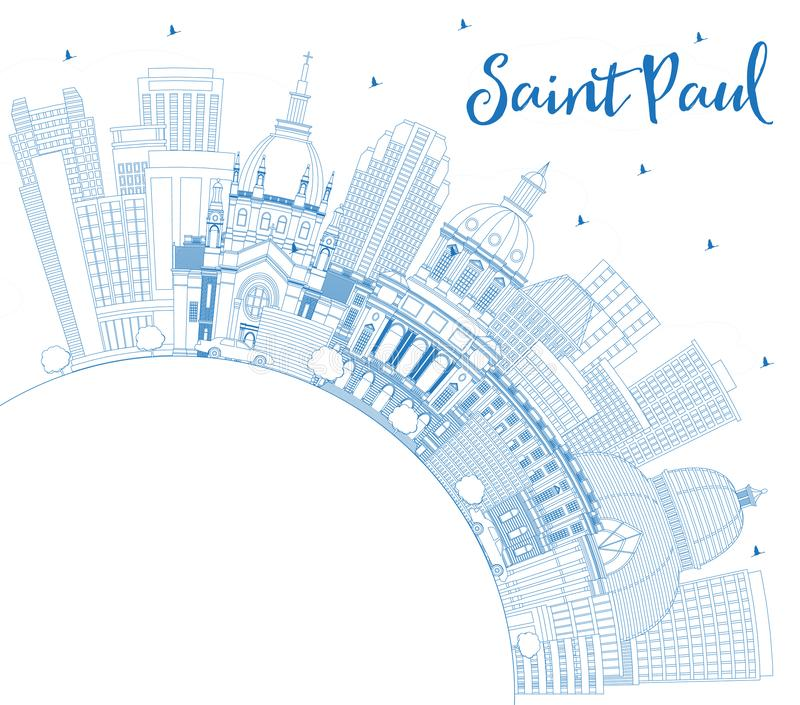 Outline Saint Paul Minnesota City Skyline with Blue Buildings and Copy Space royalty free illustration
