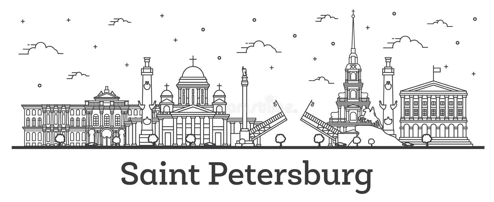 Outline Saint Petersburg Russia City Skyline with Historic Buildings Isolated on White royalty free illustration