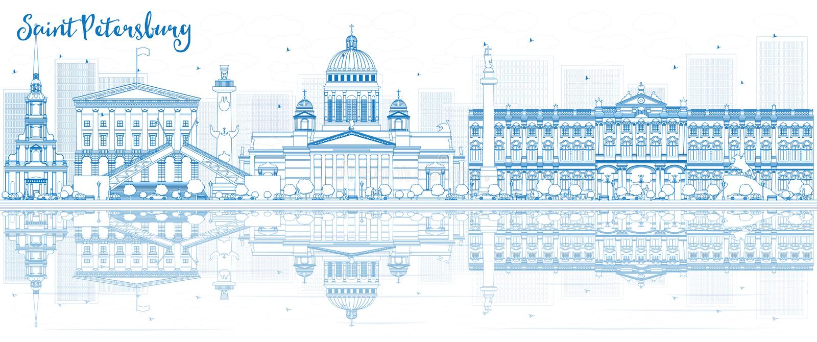 Outline Saint Petersburg skyline with blue buildings and reflect royalty free illustration