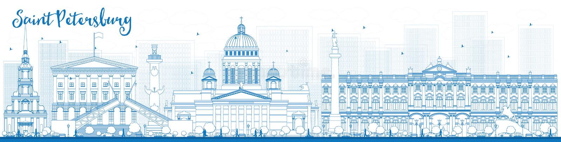 Outline Saint Petersburg skyline with blue landmarks royalty free illustration