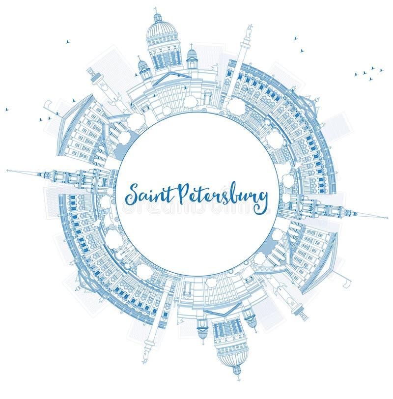 Outline Saint Petersburg skyline with landmarks. royalty free illustration
