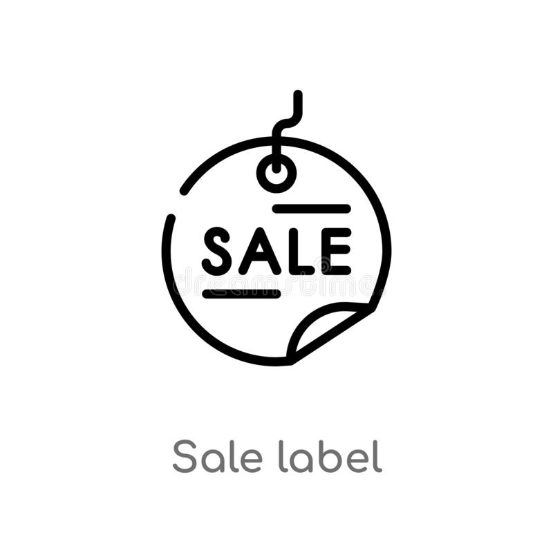 outline sale label vector icon. isolated black simple line element illustration from commerce concept. editable vector stroke sale royalty free illustration