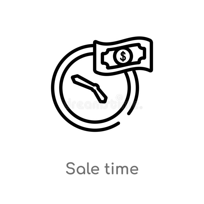 outline sale time vector icon. isolated black simple line element illustration from user interface concept. editable vector stroke stock illustration