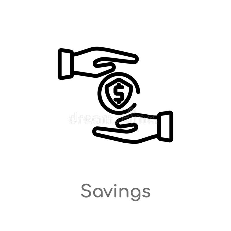 outline savings vector icon. isolated black simple line element illustration from digital economy concept. editable vector stroke royalty free illustration