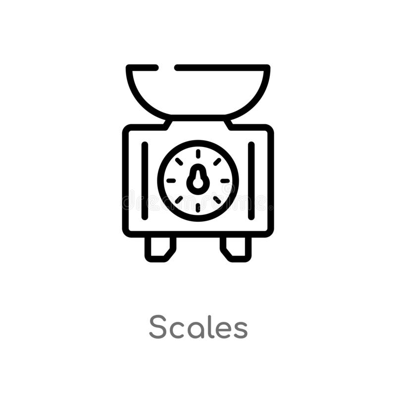 outline scales vector icon. isolated black simple line element illustration from gastronomy concept. editable vector stroke scales stock illustration