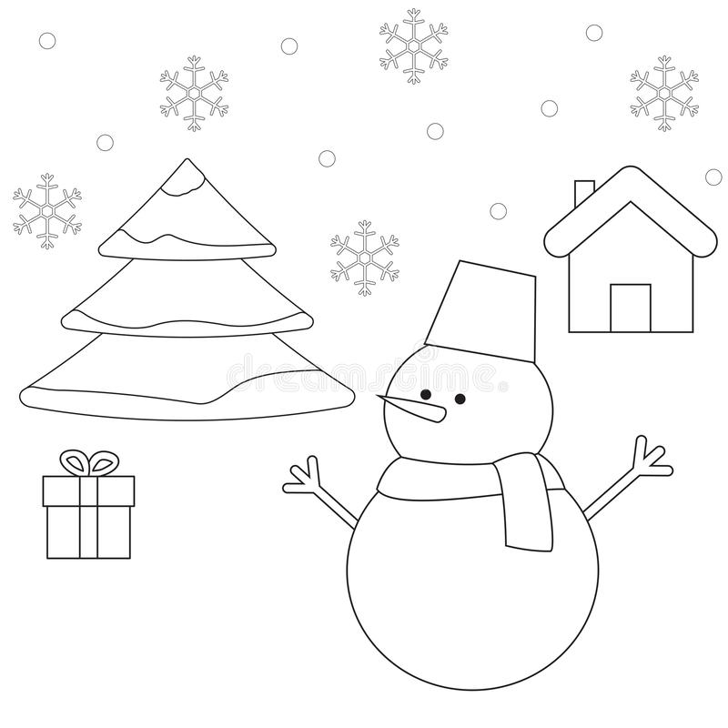 Outline scene of Christmas tree, snowman, gift box and house royalty free illustration