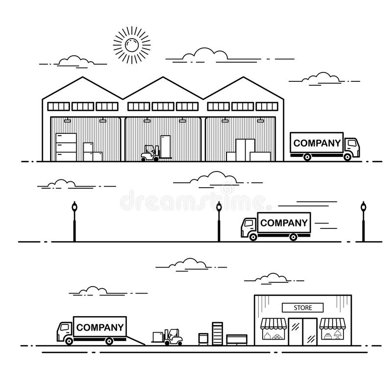 Outline scheme equipment delivery process in store. Line art vector illustration isolated on white background royalty free illustration