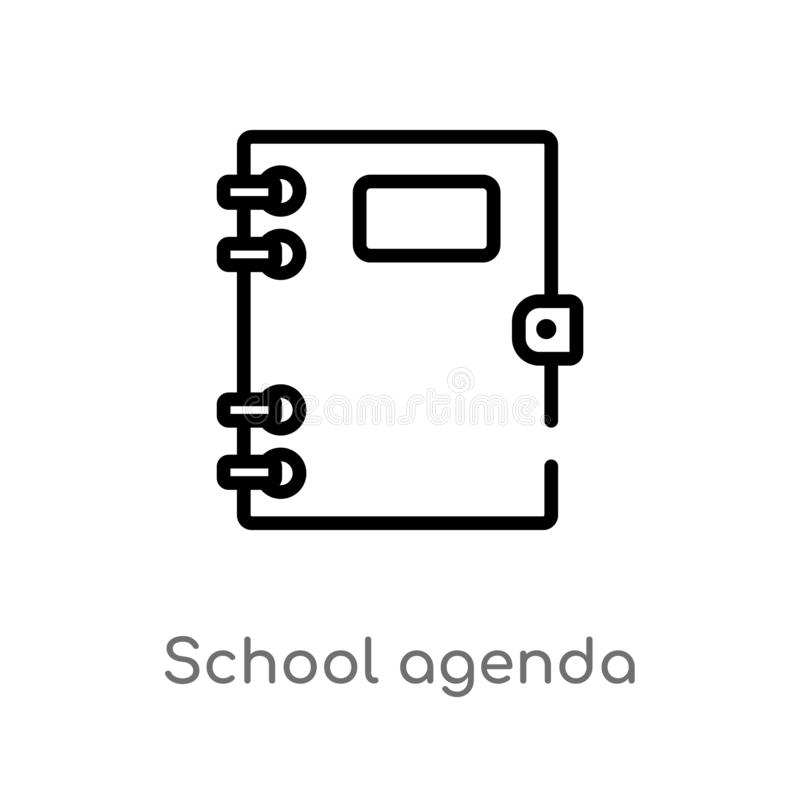 Outline school agenda vector icon. isolated black simple line element illustration from education concept. editable vector stroke. School agenda icon on white royalty free illustration