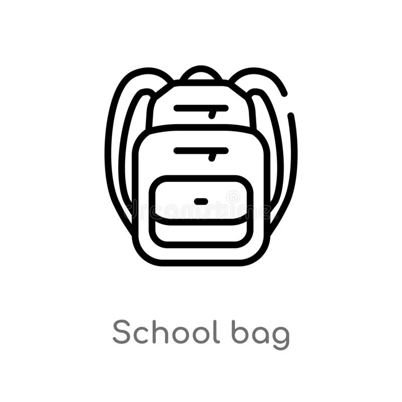 Outline school bag vector icon. isolated black simple line element illustration from education concept. editable vector stroke. School bag icon on white vector illustration