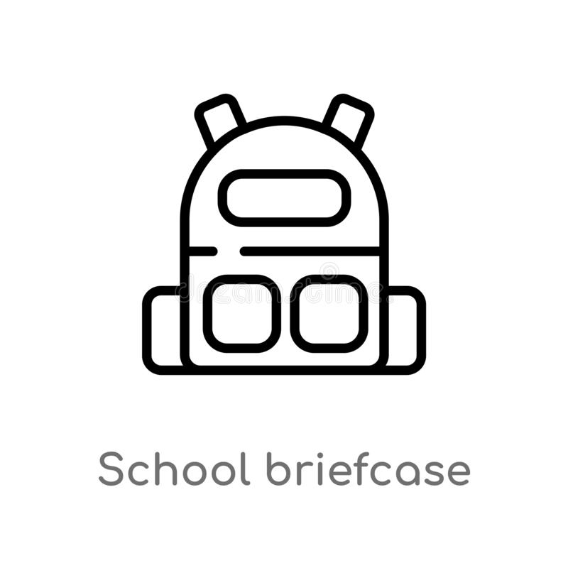Outline school briefcase vector icon. isolated black simple line element illustration from art concept. editable vector stroke. School briefcase icon on white stock illustration