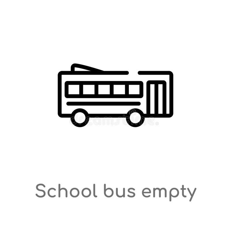 Outline school bus empty vector icon. isolated black simple line element illustration from transport concept. editable vector. Stroke school bus empty icon on royalty free illustration