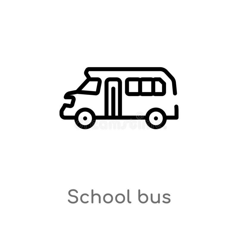 Outline school bus vector icon. isolated black simple line element illustration from education concept. editable vector stroke. School bus icon on white royalty free illustration