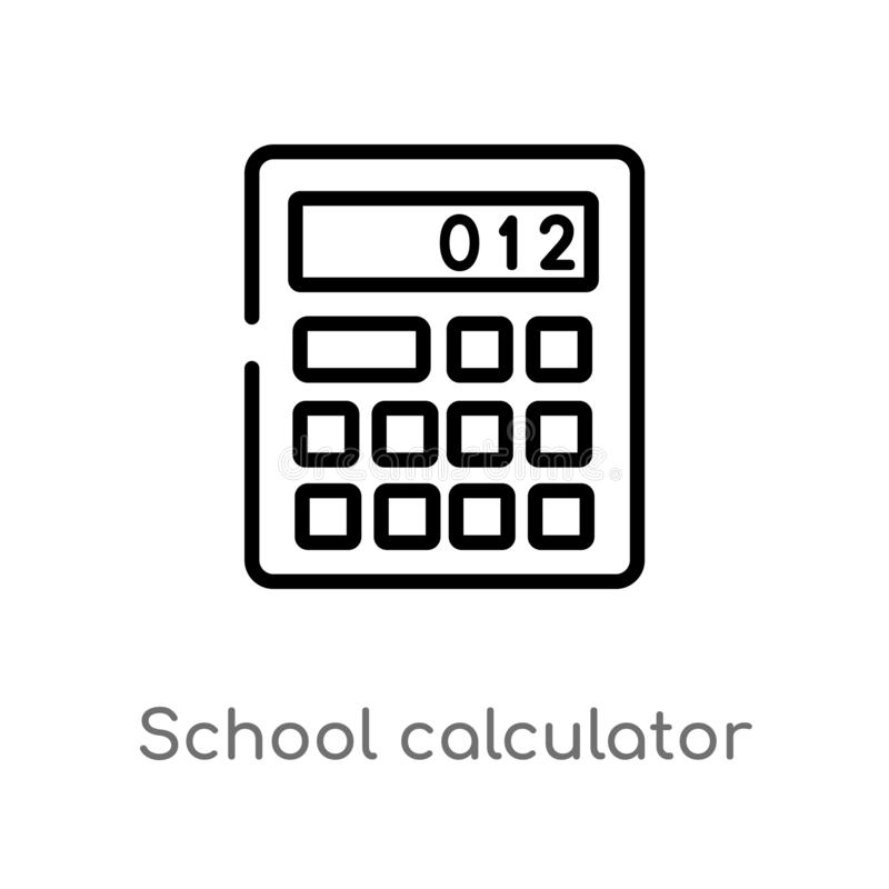 Outline school calculator vector icon. isolated black simple line element illustration from education concept. editable vector. Stroke school calculator icon on stock illustration