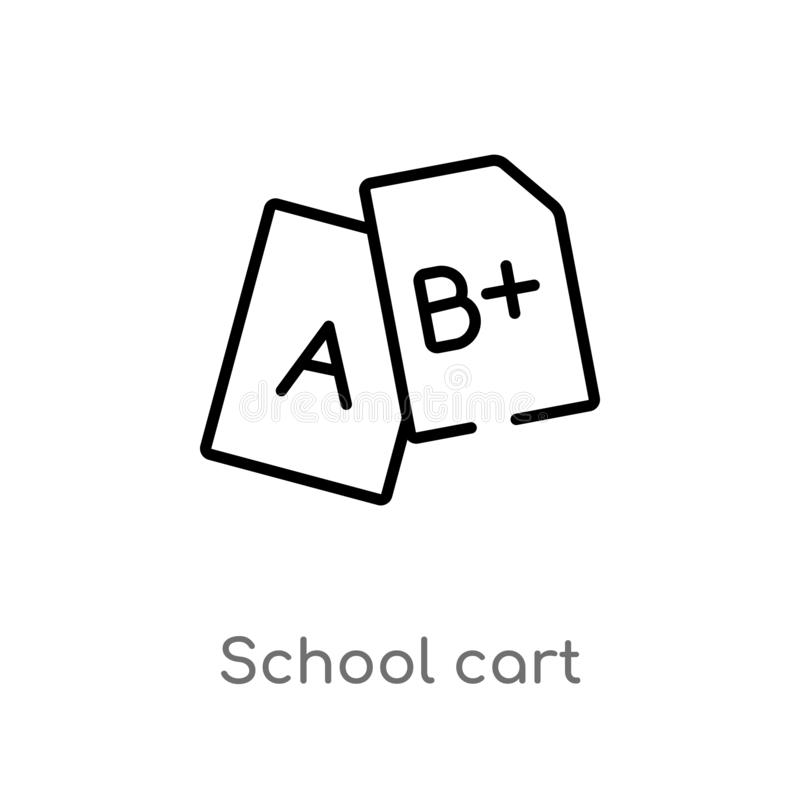 Outline school cart vector icon. isolated black simple line element illustration from education concept. editable vector stroke. School cart icon on white stock illustration