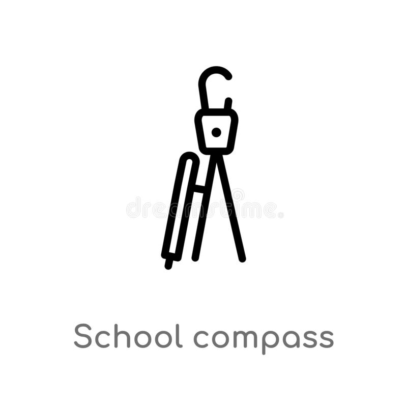 Outline school compass vector icon. isolated black simple line element illustration from miscellaneous concept. editable vector. Stroke school compass icon on royalty free illustration