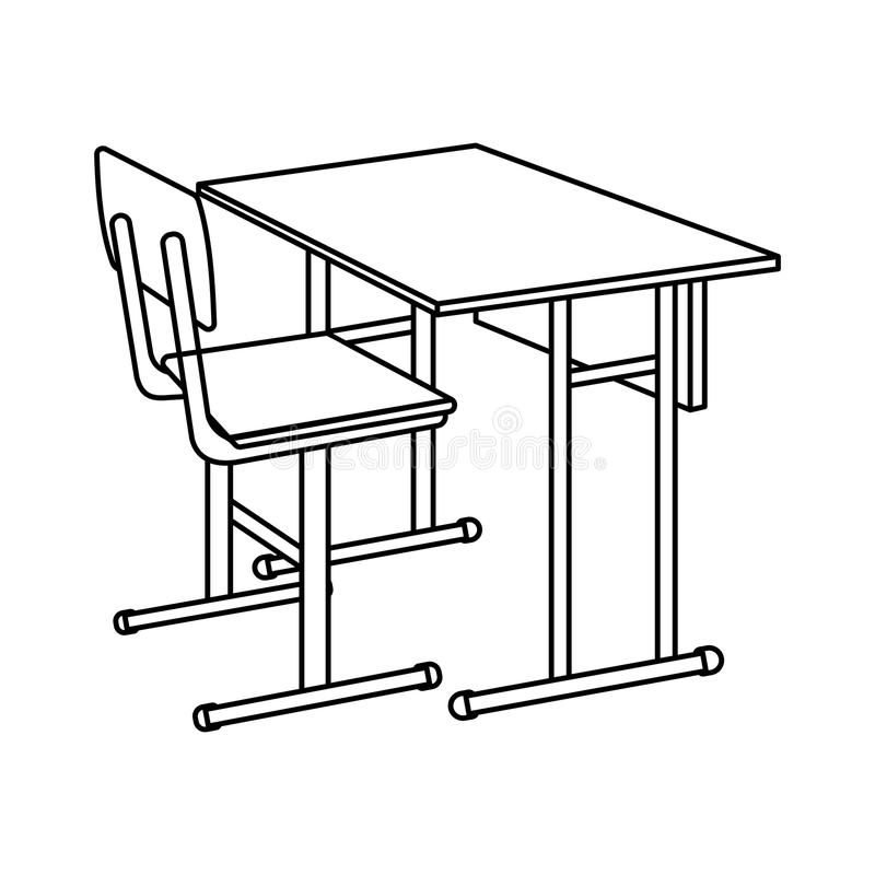 Outline School Desk icon. Isolated Vector illustration.  royalty free illustration