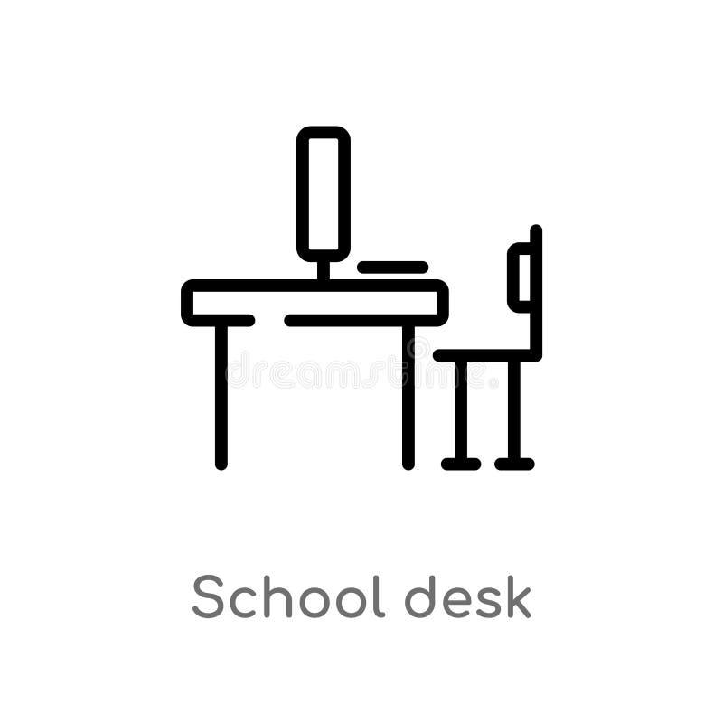 Outline school desk vector icon. isolated black simple line element illustration from computer concept. editable vector stroke. School desk icon on white stock illustration