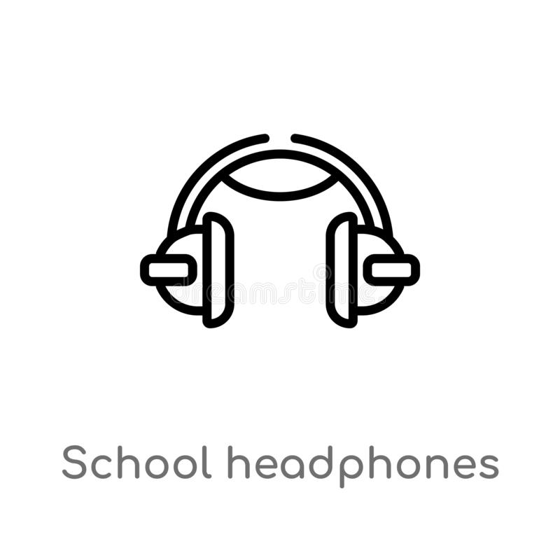 Outline school headphones vector icon. isolated black simple line element illustration from music concept. editable vector stroke. School headphones icon on vector illustration