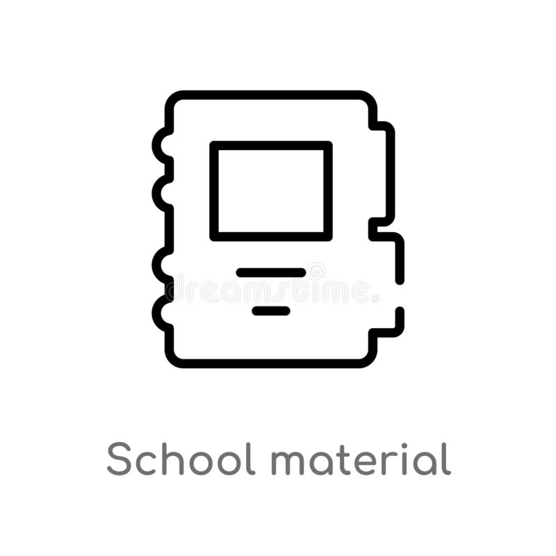 Outline school material vector icon. isolated black simple line element illustration from education 2 concept. editable vector. Stroke school material icon on royalty free illustration