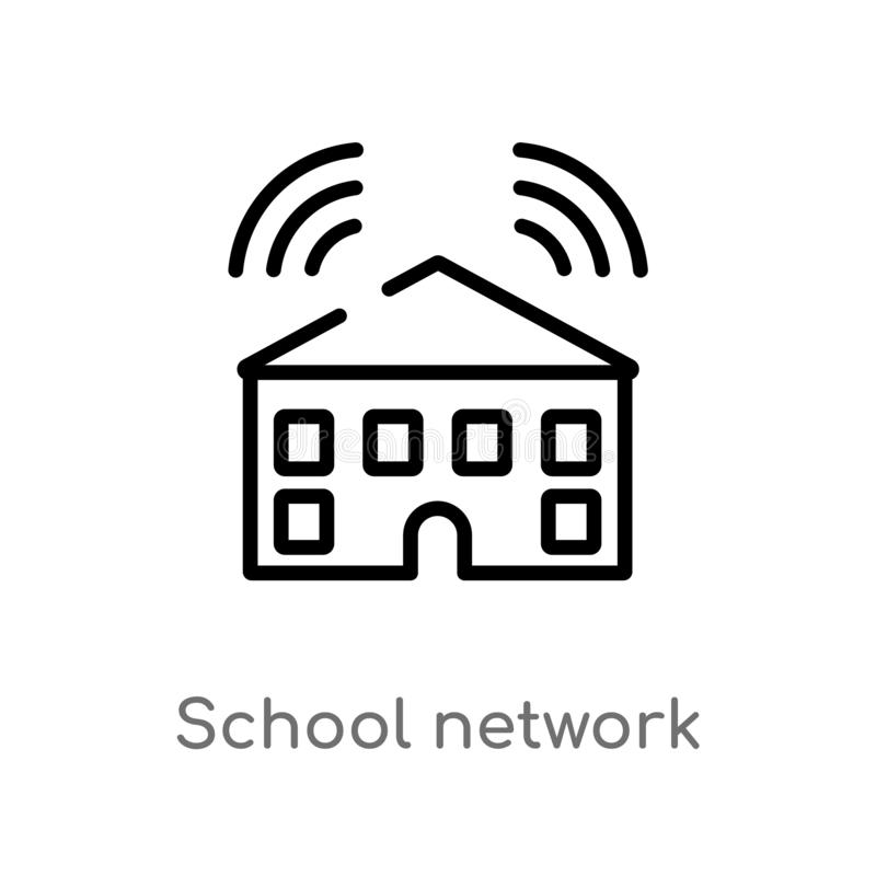 Outline school network vector icon. isolated black simple line element illustration from networking concept. editable vector. Stroke school network icon on royalty free illustration