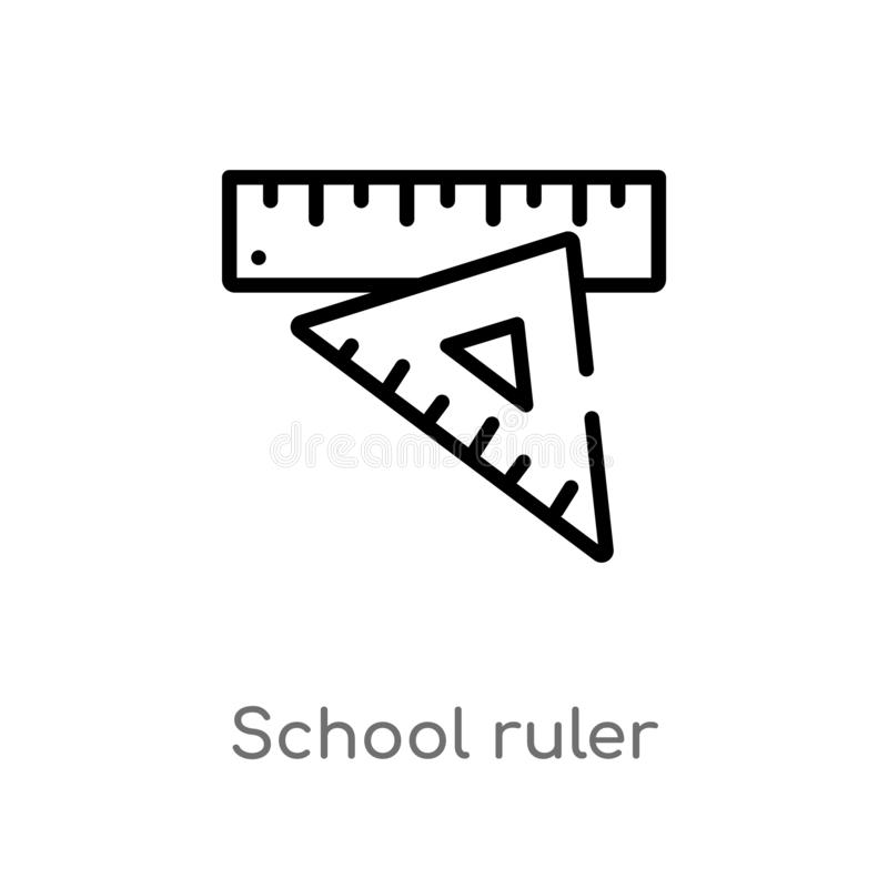 Outline school ruler vector icon. isolated black simple line element illustration from tools concept. editable vector stroke. School ruler icon on white stock illustration